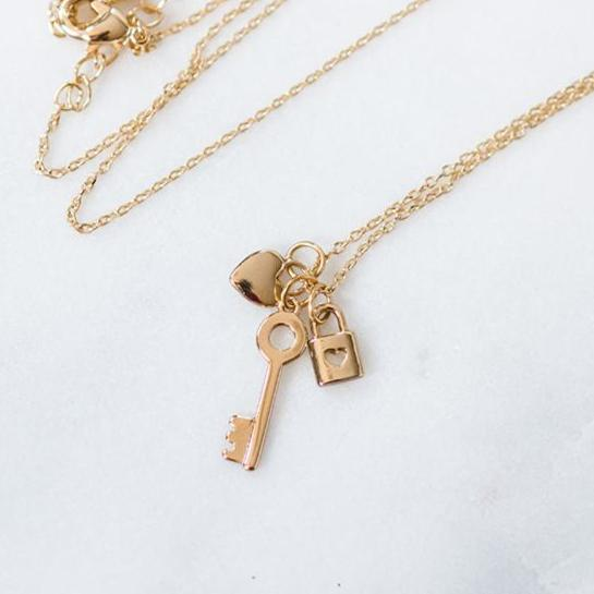 Mini Lock, Key, & Heart Necklace ~ Gold
