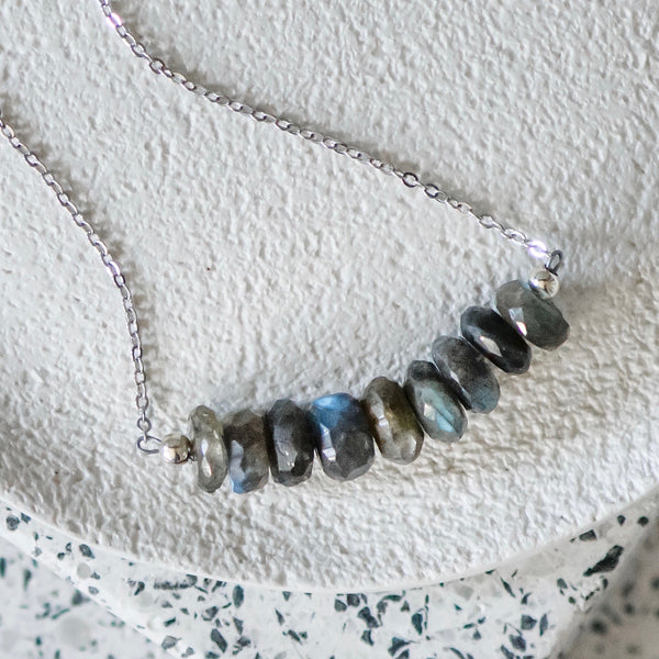 Labradorite Sterling Silver Gemstone Bar Necklace