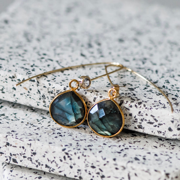 Flashy Labradorite & Gold Gemstone Drop Earrings
