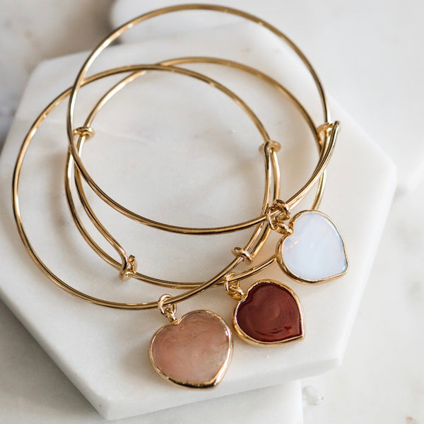 Gold Bangle Bracelet & Venetian Glass Heart Charm