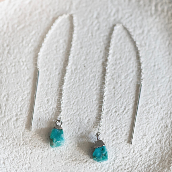 boho turquoise ear threaders sterling silver