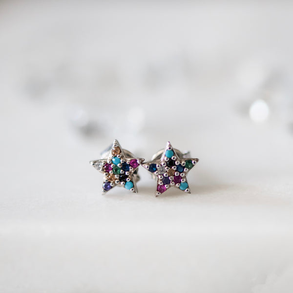 pave star stud earrings sterling silver bluefish bohemian