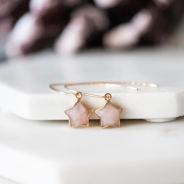 Star Drop Earrings ~ Choose Rose Quartz, Amazonite, or Sparkly Black Sunstone