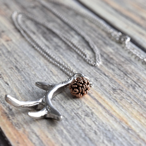 Silver Antler Necklace ~ Rose Gold Pinecone