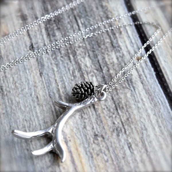 Silver Antler Necklace ~ Silver Pinecone