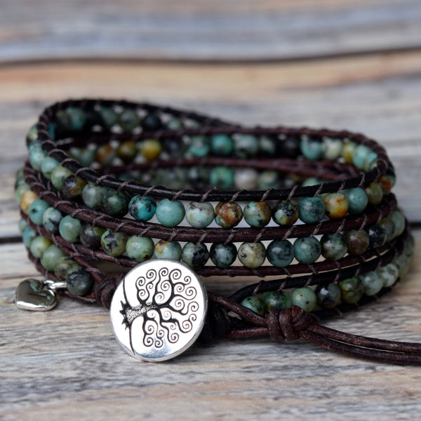 Perfect African Turquoise 3-Wrap Bracelet
