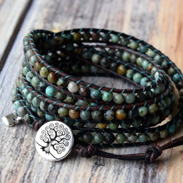 Classic African Turquoise 5-Wrap Bracelet & Tree of Life Button
