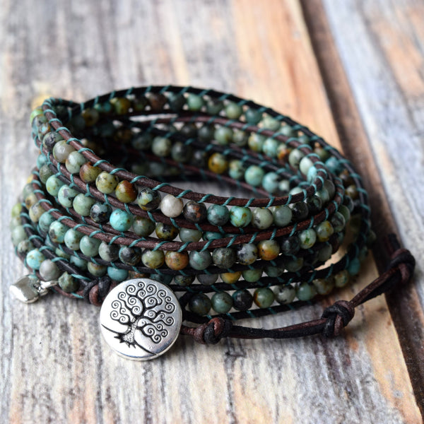 african turquoise 5x wrap bracelet