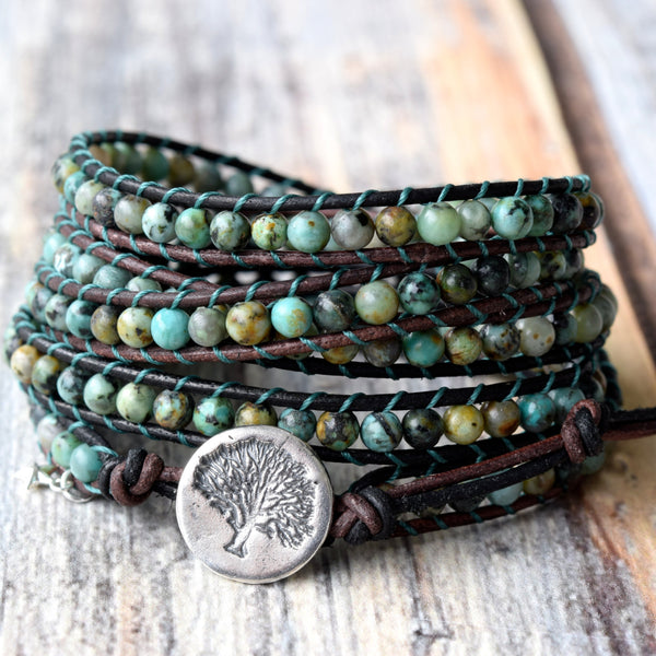Tree of Life African Turquoise & Sterling Silver Wrap Bracelet