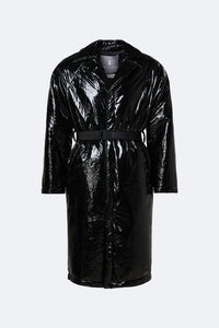 Puffed Overcoat in Glossy Black