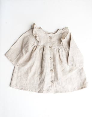 Linen Frilly Long Sleeve Field Dress -  Oatmeal