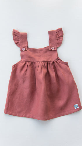 Linen Pinafore Dress – Grapefuit