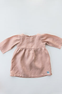 Linen Long Sleeve Dress – Rose Pink