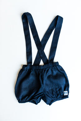 Linen Tied Shorts - Navy