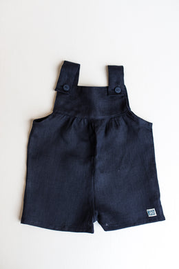 Linen Pinafore Shorts - Navy
