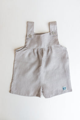 Linen Pinafore Shorts - Light Grey