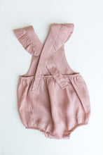 Frilly Linen Crossover Romper - Dusty Pink