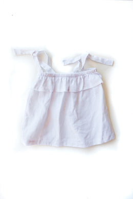 Linen Tied Swing Top - White