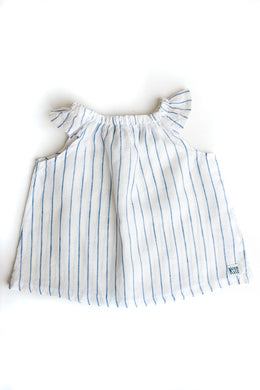 Linen Swing Dress – Blue Stripe