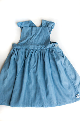Crossover Dungaree Dress – Washed Denim