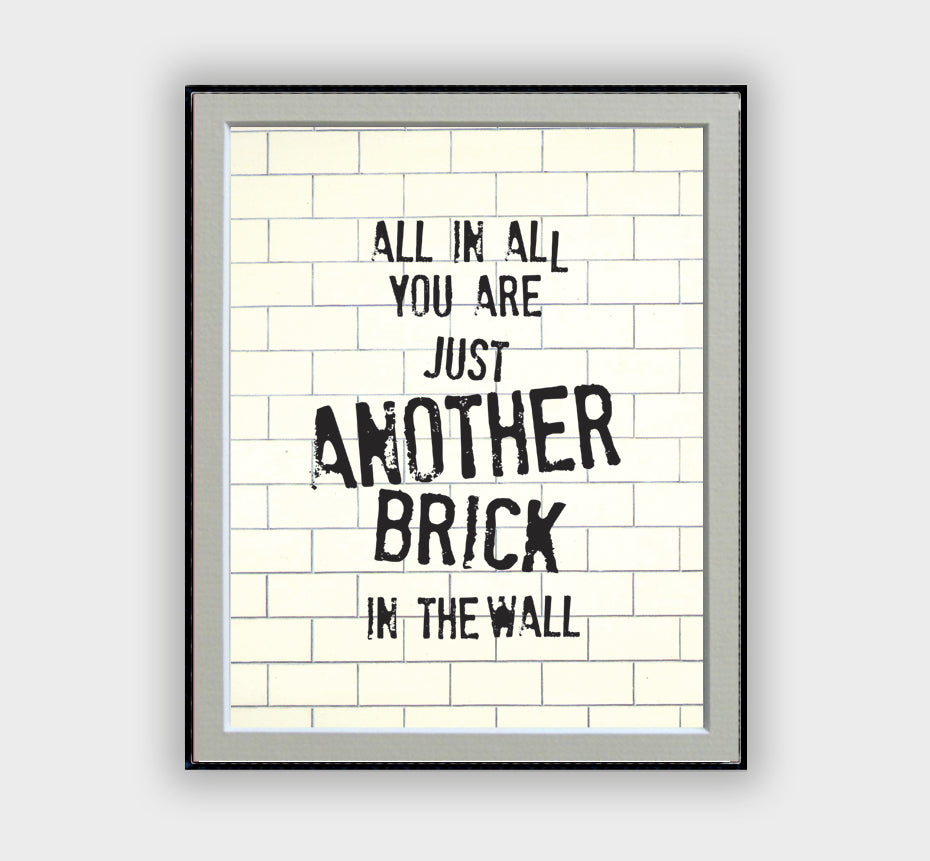 Another Brick in the Wall Lyrics Poster – musicposters