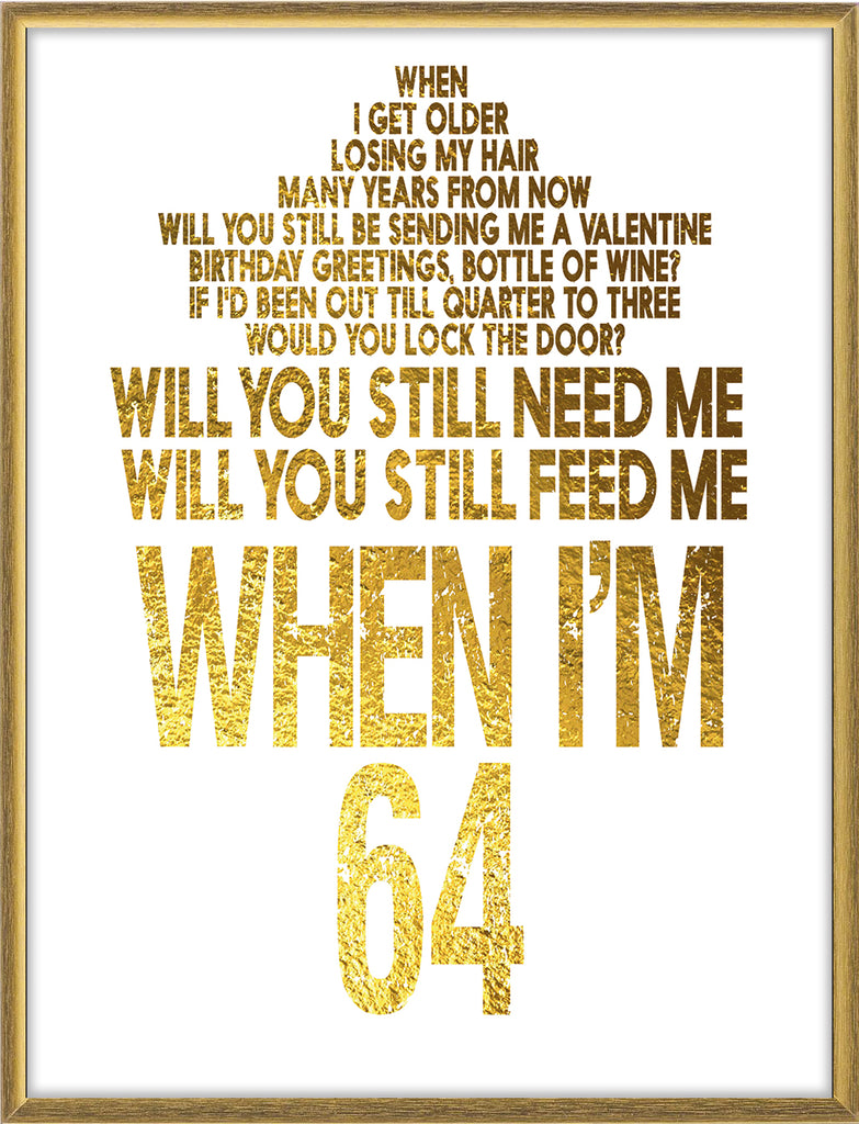 When I M 64 The Beatles Lyrics Poster White Background Musicposters