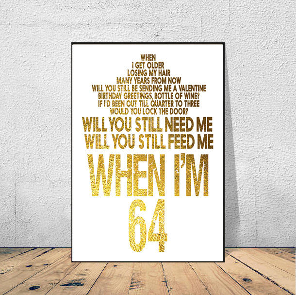 When I M 64 The Beatles Lyrics Poster Ready To Hang Musicposters