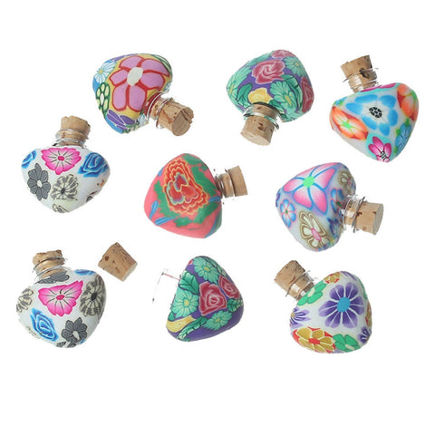 3pcs Heart shaped Polymer Clay & Glass Bottles Jewelry Vials Cork Stoppers At Random Flower