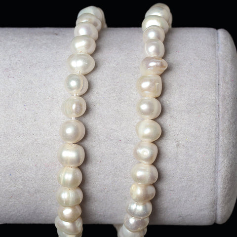 1 Strand (approx 60 Pcs/strand) 5-6mm Natural Freshwater Cultured Pearl Beads In Semi Baroque Ivory White