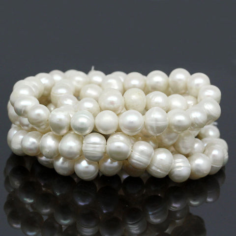 1 strand (Approx 45 PCs/Strand) Natural Freshwater Cultured Pearl Beads in Semi Baroque White