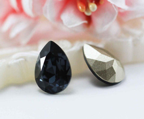 1/5/10 pcs,  14mm, Genuine Swarovski 4320, Pear Shaped Fancy Stone Crystal in Graphite (253)