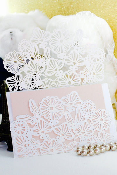 1 pack (10 sets), White Lace Wedding Invitation v2 wallet with 2 unprinted inserts (Envelope not Included)