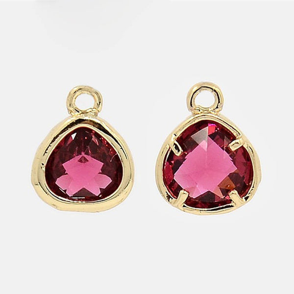 2pcs, 11x8.5x4mm Real Gold Plated Brass Glass Pendants, Faceted Triangle Charms, Cerise