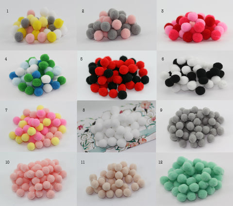 40pcs, 10mm Soft Pompom Fur Balls - Choose Your Colour