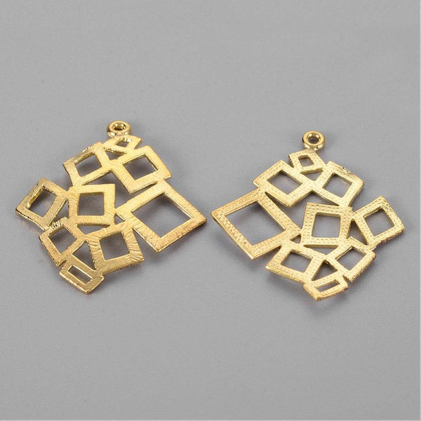 1pc, 29x25x1mm, Golden Rhombus Brass Pendant