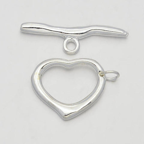 2sets, 16x19x2mm, Big Brass Heart Fashionable Toggle & T-bar Clasps In Silver