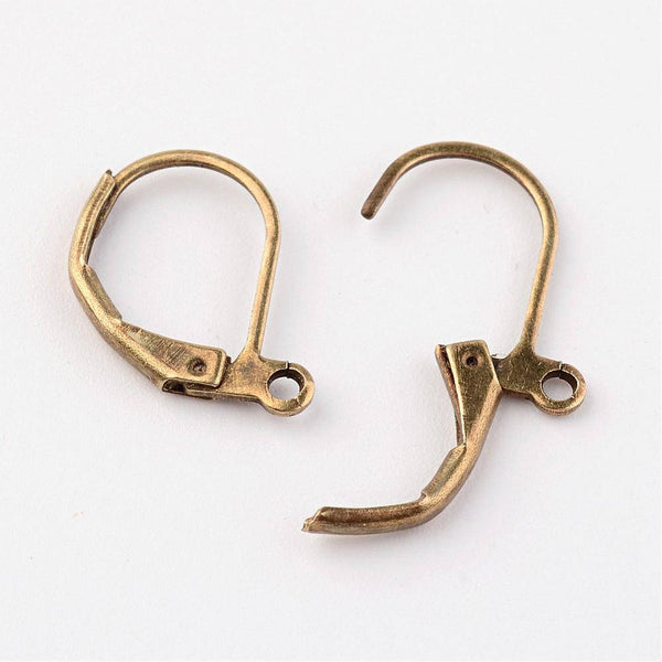 2 Pairs (4pcs), 15x10mm, Brass Lever Back Hoop Earrings, Nickle Free, Antique Bronze
