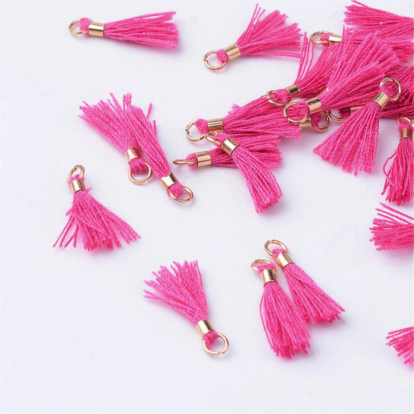 20pcs, 10~16x2mm, Cotton Tassel Pendant Decorations, With Unwelded Iron Jump Rings, Golden, Camellia