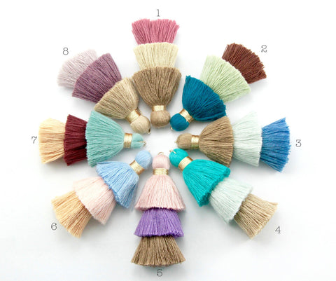 1pc 8cm 3 Layer Multi Coloured Cotton Tassel
