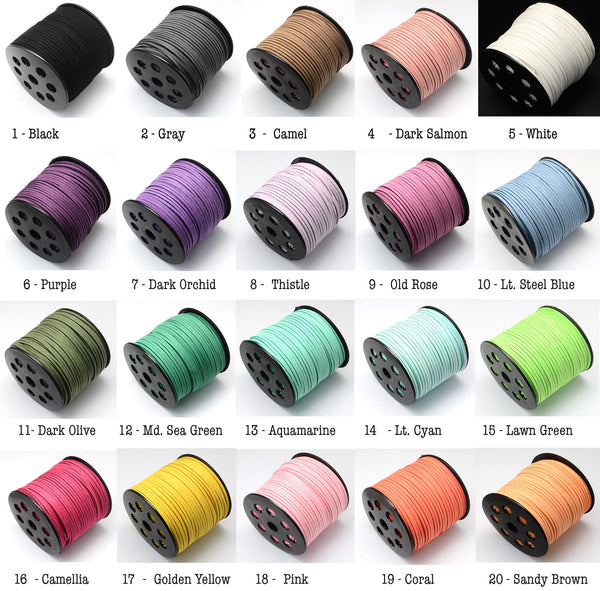 10 Meters, 3.0x1.4mm, Faux Suede Cord - Choose Your Colour