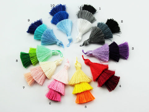 2pc, 7.5cm 3 Layer Multi Coloured Silk Tassel