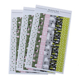 1 Sheet, Deco Stickers Rectangle, Snow Village/white Night Pattern