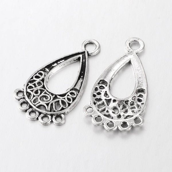 1 Pair (2pcs) , 28x15.5x1mm, Tibetan Style Chandelier Component Links Drop, Antique Silver