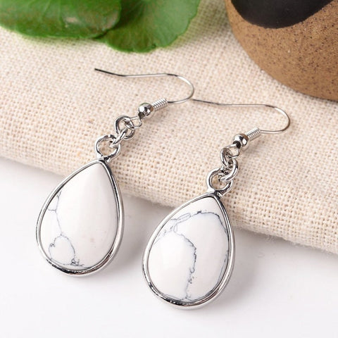1 pair (2pcs), 47mm, Natural Howlite Drop Dangle Earrings, with Platinum Plated Brass Finding