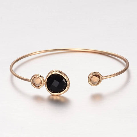 1pc, 43x62mm, Golden Plated Brass Glass Cuff Bangle in Coffee