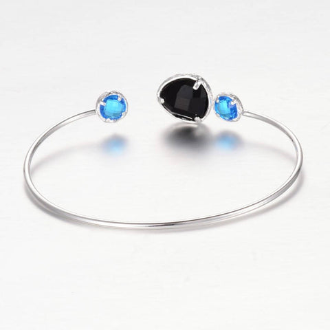 1pc, 43x62mm, Silver Plated Brass Glass Cuff Bangles, Nickel Free in Black / Sky Blue