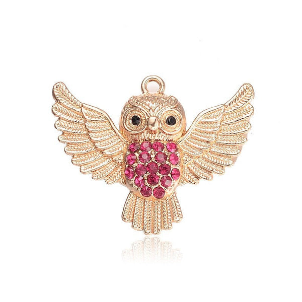 1 Pc, 41x51x12mm, Alloy Rhinestone Pendants, With Resin Cabochons, Owl, Golden, Rose