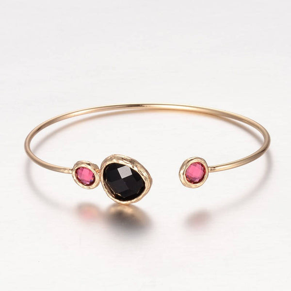 1pc, 43x62mm, Golden Plated Brass Glass Cuff Bangle in Hot Pink