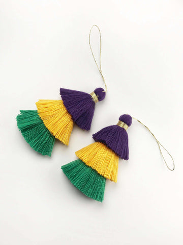 1pc, 8cm , Mardi Gras Inspired 3 Layer Multi Coloured Cotton Tassel