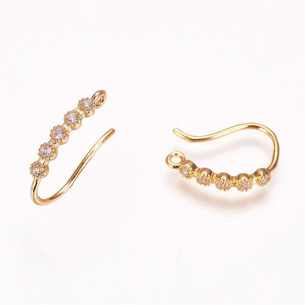 1 pair, 16x2x1.5mm, Brass Cubic Zirconia Earring Hooks in Golden